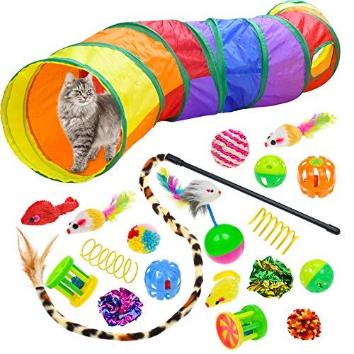 Malier 20 PCS Cat Kitten Toys Set, Collapsible Cat Tunnels for Indoor Cats, Interactive Cat Feather Toy Fluffy Mouse Crinkle Balls Toys for Cat Puppy Kitty Kitten Rabbit (A-Rainbow)