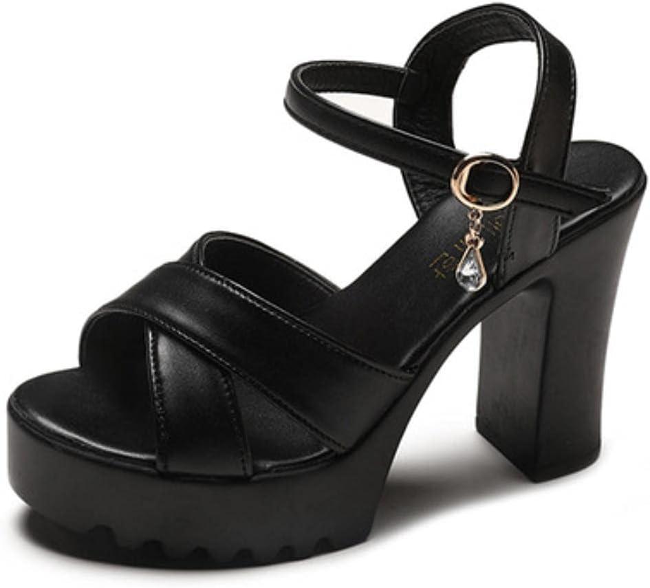 DaVanck Women's Sandals 2021 Summer Fashion All-Match Thick-Heeled Women's Sandals Comfortable High-Heeled Sandals Women Black