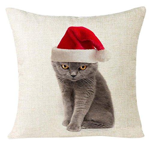 LuckyGirls Kissenbezug 45 x 45 cm Weihnachten Katze Sofa Dekoration Festival Kissenbezüge (F)