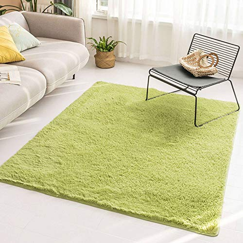 Alfombra de piel artificial, ultra suave, cómoda, antideslizante, para interiores, ideal para sala de estar, dormitorio, oficina, 100 x 160 cm, verde claro