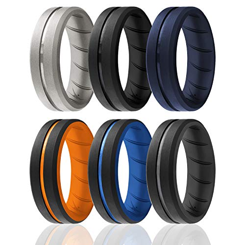 ROQ Silicone Rings, Breathable Silicone Rubber Wedding Ring Band for Men with Comfort-Fit Design, 8mm Engraved Duo, 6 Pack, Silicone Wedding Ring - Black, Blue, Orange, Grey Colors - Size 12