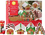 Gingerbread House Kit, Christmas Mini Village Set. Build It Yourself Kit - Includes 4 Sets Of House...