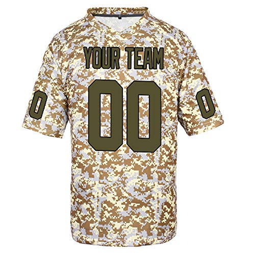 Pullonsy Personalized Football Jerseys Game for Men Stitched Camo Salute to Service,Army Green-Black,Size 2XL