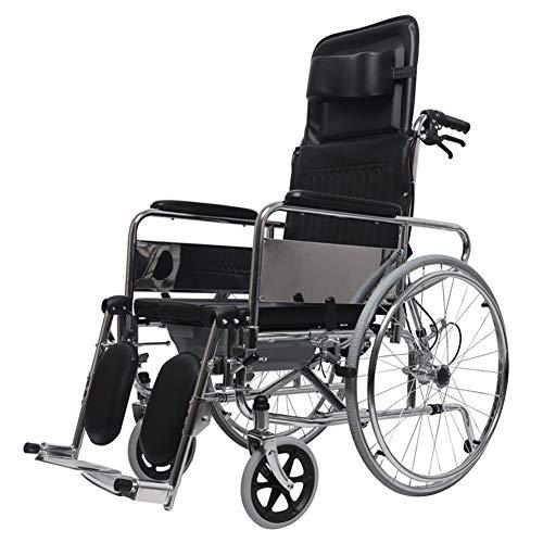 Rollstuhl-Falten Semi-Rekur Ganzheillangen-Liegestuhl-Lackier-Portable Mit Toilettenfunktion Adjustable Pedal Für Erwachsene Transport Rollstuhl