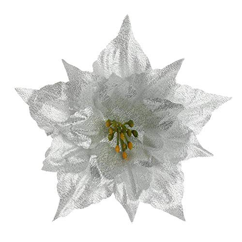 shengy Poinsettia Christmas Tree Flowers Hanging Ornament Handcraft Home Decoration Wedding Favors Party Supplies Xmas Gift(Silver)