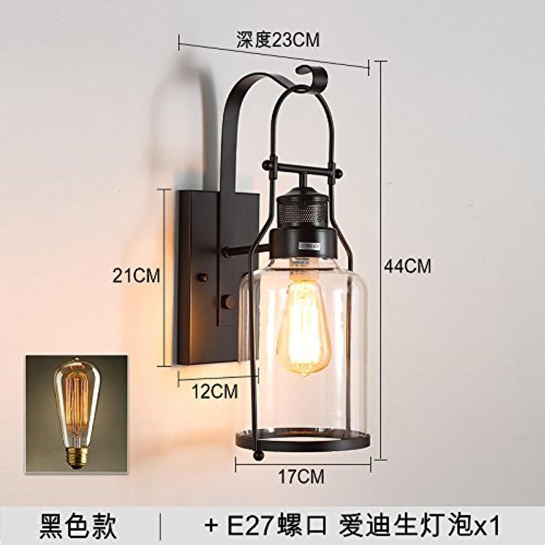 StiefelU LED Wandleuchte nach oben und unten Wandleuchten Retro eiserne Wand Lampen im Wohnzimmer, Wnde aus Glas Balkon Wandleuchten, schwarz-Glühlampe