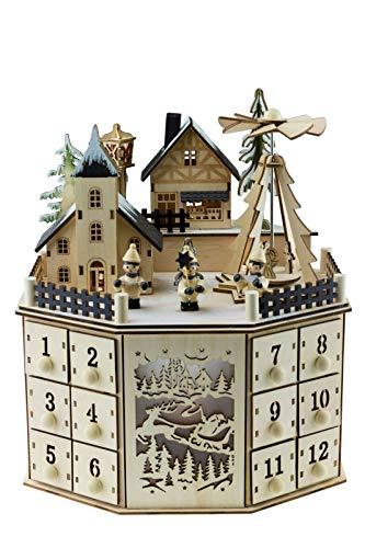 Clever Creations - Calendario de Adviento con 24 cajoncitos - Madera y Luces LED - Funciona con Pilas - Decoración Tradicional con Forma de Pueblo en Navidad - 07 - Redondo 2