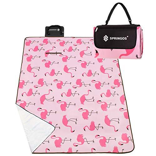 SPRINGOS Picknickdecke   150x180 cm   Rosa/Flamingos   Wasserdicht   Mit Tragegriff   Outdoor Stranddecke   Matte Sitzunterlage