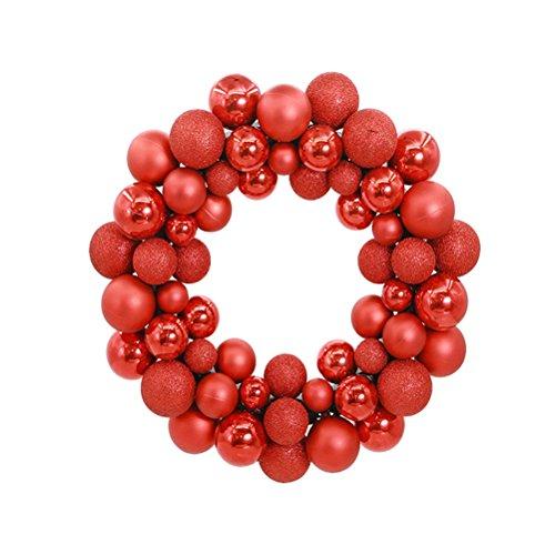 Kugelkranz LUOEM Weihnachtskranz mit Kugeln Weihnachtskugel Weihnachten Tür Anhänger Türdeko (Rot)