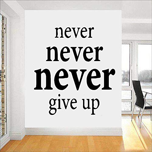HGFDHG Calcomanía de Pared para Gimnasio, Entrenamiento, múltiples Acentos, Nunca te Rindas, Frase Motivacional, calcomanía de Vinilo para Pared