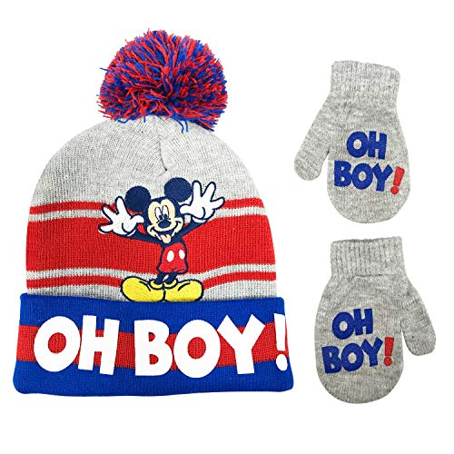 Disney Mickey Mouse Toddler Boys Winter Hat and Gloves Cold Weather Set, Age 2-4
