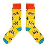 CUP OF SOX Baumwolle Lustige Socken in der Pappbecher - Ideal als Geschenk für Männer & Frauen - Bikes/Fahrrad / Hipster, Gelb, 37-40