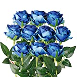 Luyue Artificial Silk Rose Flower Bouquet Wedding Party Home Decor, Pack of 10-Gradient Blue