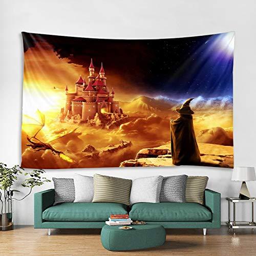 Zauberer Castle Dragon Landscape Tapisserie Wandbehang Astrologie Tagesdecke Beachy Hippieparty