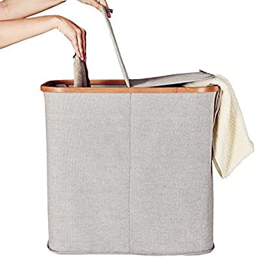 LA JOLIE MUSE Laundry Hamper Sorter with Double Lid, 20 Inch Bamboo Fabric Laundry Basket Bins, Easy Assembly, Grey