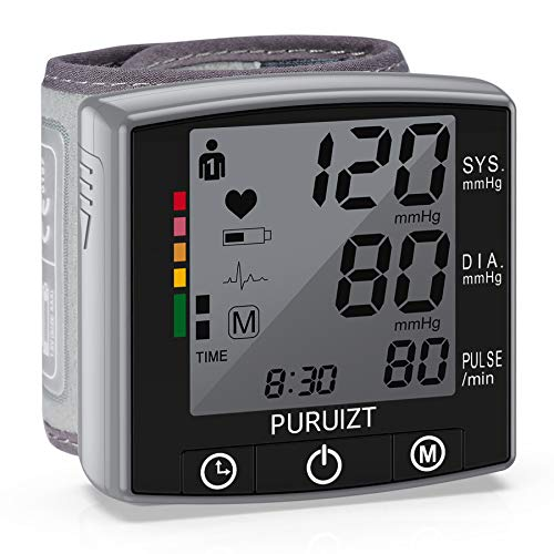 Wrist Blood Pressure Monitor, Puruizt Accurate Automatic Digital Blood Pressure Machine with Portable Carrying Case, Large Display and 2x120 Readings Memory Dual Users Mode for Home Use