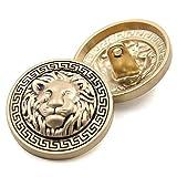 Bottoni con testa di leone incisa, con gambo, in metallo di alta qualità, per vestito o camicia, bottoni fai da te, confezione da 10, Gold, 25 mm