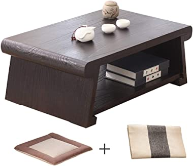 PingFanMi Multi-Purpose Solid Wood Low Table with Cotton Cushions and Table Flags, Japanese Bay Window, Small Coffee Table, T