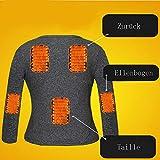 LanXi Herren Beheizte Unterwäsche, USB Lade Elektrische Beheizte Körperwärmer Daunenweste, Wiederaufladbare Thermische Kapuzenweste mit 3 Heizstufen (Schwarz (Tops+Pants), 2XL) - 3