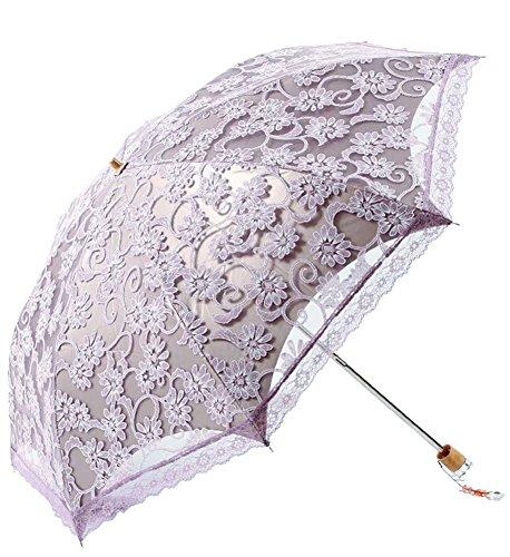 Honeystore Regenschirm, Automatik Taschenschirm Anti UV Regen/Sonne Spitze Regenschirm für Damen Violett