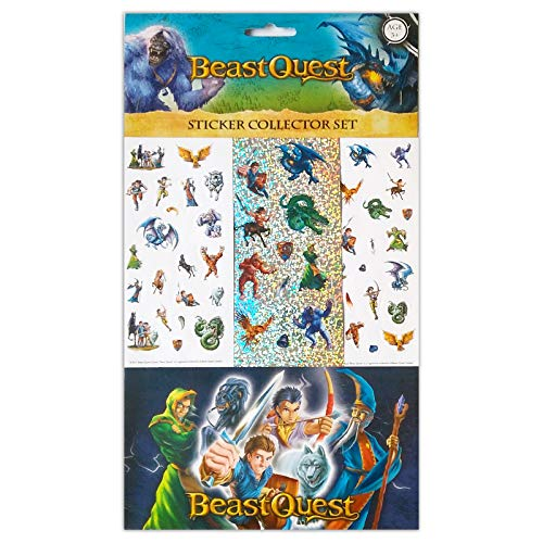 Beast Quest Stickers, 6 Sheets, Each Sheet 14 x 7cm with Sticker Album