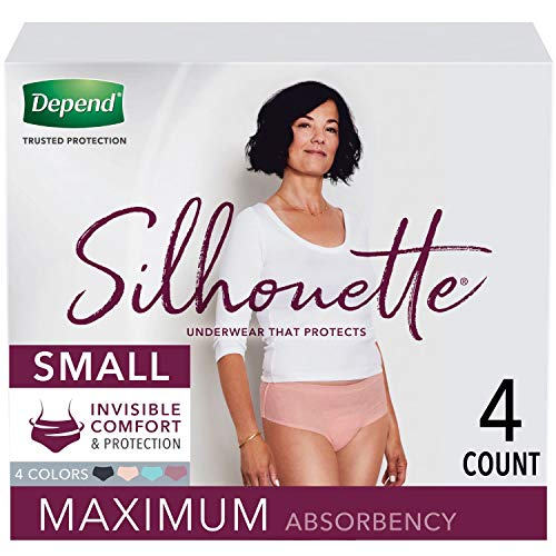 Depend Silhouette Incontinence and Postpartum Underwear for Women, Maximum Absorbency, Disposable, Small, Pink/Black/Teal/Berry, 4 Count