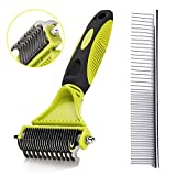 Dog Dematting Comb, Pet Dematting Rake, Double Sided Blade Rake Comb Grooming Comb for Dogs and Cats Removes Loose Undercoat, Knots, Mats and Tangled Hair