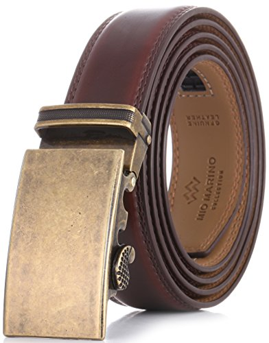 """Marino Men's Genuine Leather Ratchet Dress Belt With Automatic Buckle, Enclosed in an Elegant Gift Box - Aurelian - Mahogany - Adjustable from 28"""" to 44"""" Waist"""