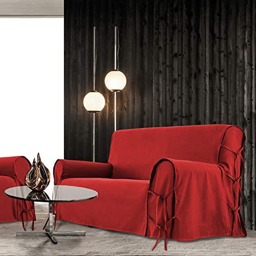 Alpes Blanc - Copridivano Stella 100% cotone / copridivano in cotone 3 posti (rosso/rosso