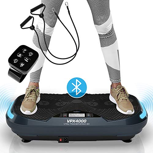 Kinetic Sports 4D Vibrationsplatte VPX4000 im Curved Design | 3 leistungsstarke Motoren mit 1100 Watt | Exklusiv & Gelenkschonend | L 4.0 Bluetooth Lautsprecher | Fernbedienung | Highend Oszillation