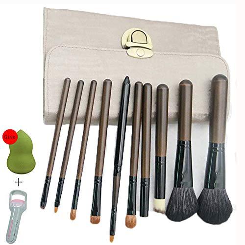 Pinceaux Maquillage Cosmétique Professionnel,Conception 10Pcs Kit Bois De Santal Cosmétique Brush,Avec Double Couche Pinceau De Maquillage Pack