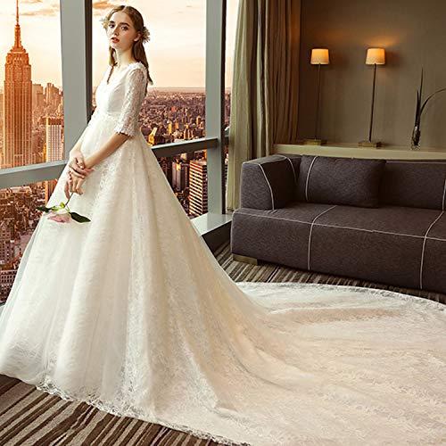 CJJC Schwangere Brautkleider, übergroße V-Ausschnitt Long Tailing Women Kleider mit Spitzenapplikationen Ideal für die Zeremonie Party verwenden White XXXL
