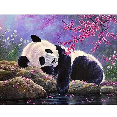 Henair DIY 5D Diamond Painting Kit Completo Panda Cuadros Diamantes Punto De Cruz Rhinestone Bordado Diamante Arte Manualidades Decoración De Pared Del Hogar 30X40cm