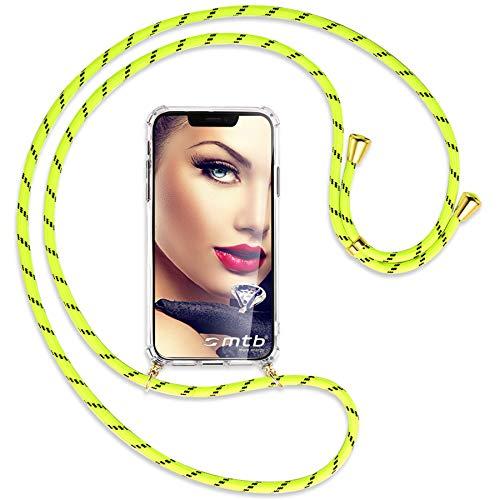 mtb more energy® Handykette kompatibel mit Sony Xperia L2, L2 Dual SIM (5.5'') - Neon-Gelb gestreift/Gold - Smartphone Hülle zum Umhängen - Anti Shock Full TPU Hülle