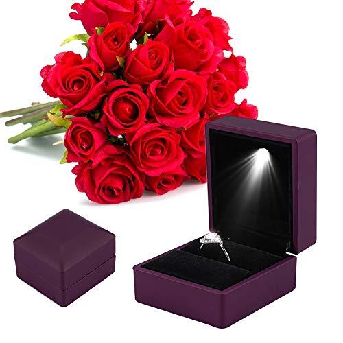 Led-licht ring box, 4 kleuren modieuze LED verlichte ring opslag juwelendoos vitrine geschenk paars