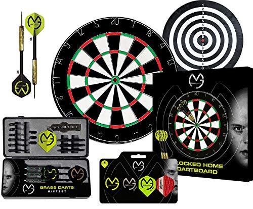 XQ Max Michael Van Gerwen Limited Edition - Dartboard Set mit 2 Spielflächen und 6 Stahl Pfeile + Michael Van Gerwen Dart-Geschenkset und zusätzlichen 12 Flights