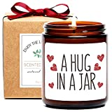 Thinking of You Gift, A Hug in a Jar Scented Soy Candle, Inspirational Positive Wishes Encouragement Gift Get Well Soon, Condolence, Relaxing, Divorce Gifts for Women (Hug)