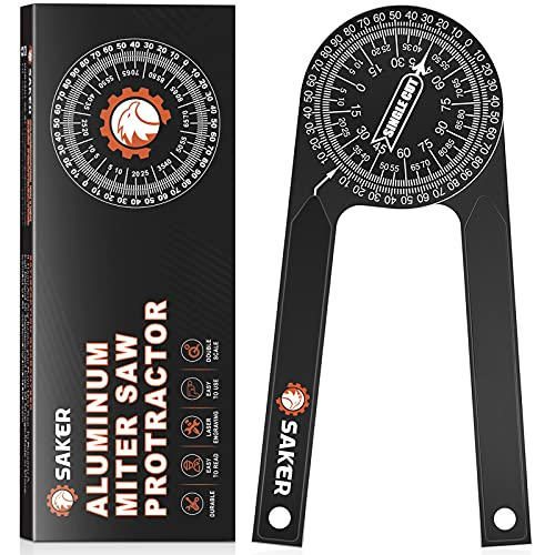 Saker Miter Saw Protractor 7-Inch Aluminum Protractor Angle Finder Featuring Precision Laser-Inside & Outside Miter Angle Finder for Carpenters, Plumbers and All Building Trades (Black)
