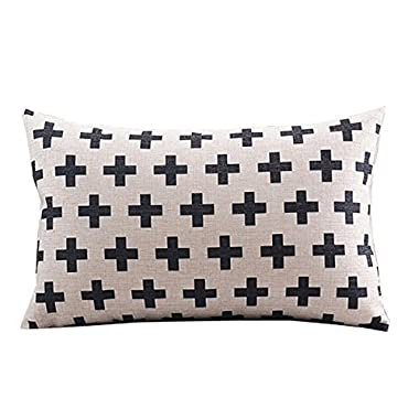 CoolDream Cotton Linen Decorative Pillowcase Throw Pillow Cushion Cover Cross Pattern Rectangle 12  * 20