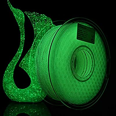 AMOLEN 3D Printer Filament, Shining Glow in The Dark Green 1.75mm PLA Filament +/- 0.03 mm, 1KG/2.2LBS, Includes Sample Marble Filament