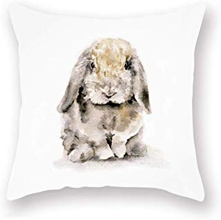 Smilyard Rabbit Throw Pillow Covers Animal Bunny Farmhouse Pillow Cover Oil Painting Super Soft Pillow Case Easter Cushion Cover 18x18 Inch for Home Sofa Couch Bedroom (Rabbit)