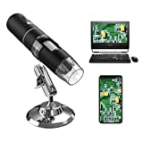 MoKo USB Microscope Numérique WiFi, Appareil Photo 1080p HD 2MP, 50x à 1000x Grossissement Mini Poche Endoscope sans Fil avec 8 LED, Support en Métal pour iPhone/iPad/Mac/Fenêtre/Android/iOS, Noir