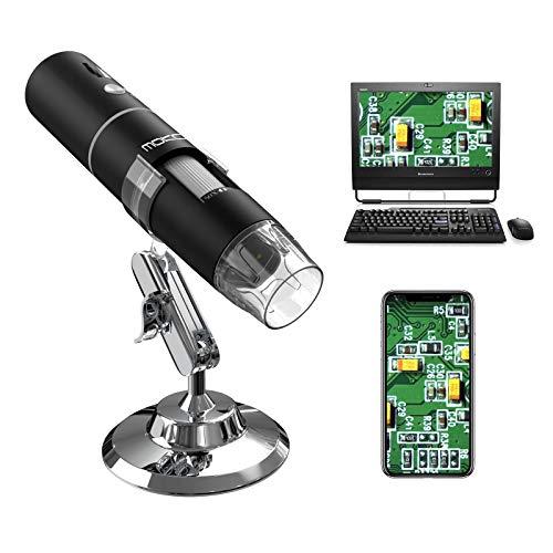 MoKo WiFi USB Digital Microscope, 1080P HD 2MP Camera, 50x to 1000x Magnification Mini Pocket Handheld Wireless Endoscope 8 LED, Metal Stand Compatible with iPhone/iPad/Mac/Window/Android/iOS - Black