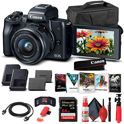 Canon EOS M50 Mirrorless Digital Camera with 15-45mm Lens (Black) (2680C011) + 64GB Memory Card + Case + Corel Photo Software + LPE12 Battery + Charger + Card Reader + HDMI Cable + More (Renewed)