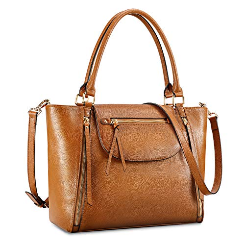 MATERIAL - Tote shoulder bag is made of softly genuine pebbled leather with high quality durable golden metal hardware, flap with magnetic snap and zipper closure; Fabric lining STRUCTURE - Interior with 1 x main compartment, 1 x open pocket and 1 x ...