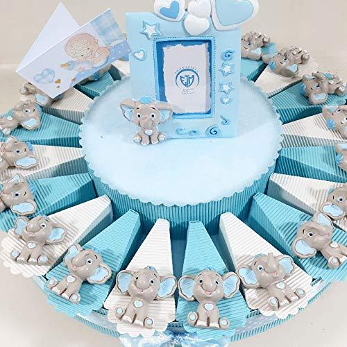 Bomboniere Elefanti a Torta di bomboniera Completa di Confetti (Torta 20 fette)