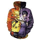 Unisexe Sweats À Capuche Imprimé 3D avec Poche Kangourou - Naruto Sasuke Battle Scenery- Cool Et Inhabituel Sportswear pour Garçon Fille Homme Femme Adulte Enfant-S
