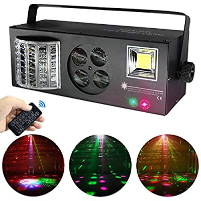 Stage Lights,MARYGEL 4 in 1 Mixed Effect Sound Activated RGBW LED Pattern Lights Strobe Light By Remote and DMX Control for DJ Club Disco Party Wedding Birthday Christmas(Black) from MARYGEL