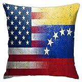 LOSNINA Kissenbezüge, Vereinigte Staaten Venezuela Flaggen auf Grunge, Thema Couch Sofa Wohnzimmer Indoor Outdoor Home Decor (18