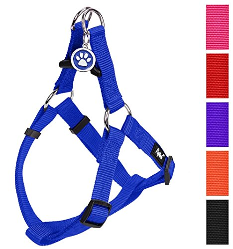 PUPTECK No Pull Dog Harness Adjustable Basic Nylon Step in Puppy Vest Outdoor Walking Chest Girth 14.8'-22' Small